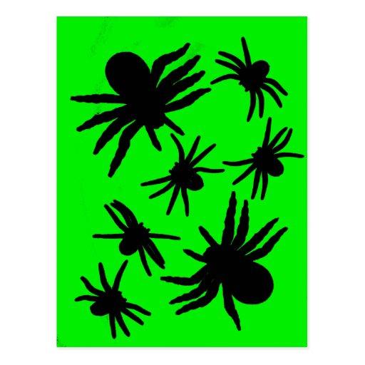 Arañas verdes y negras tarjeta postal