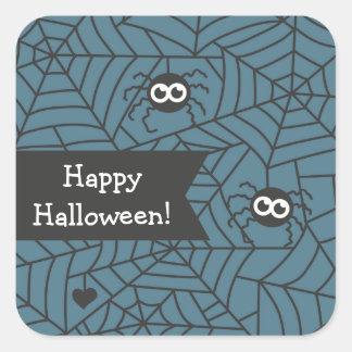 Arañas y pegatinas de la decoración de Halloween Pegatina Cuadrada