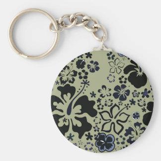 Arándano y diseño verde del hibisco llavero