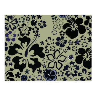Arándano y diseño verde del hibisco, postal