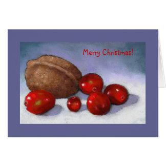 Arándanos en pastel: Tarjeta del arte del navidad
