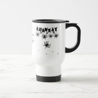 """ARANEAE"", Creepy Crawly Halloween Typography Travel Mug"