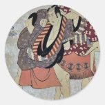 Arashi Ryuzo I de Toshusai Sharaku Pegatina Redonda