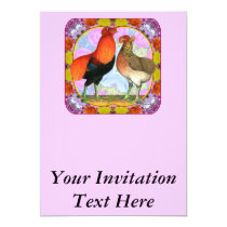 Araucana Chickens Art Nouveau Invitation