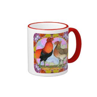 Araucana Chickens Art Nouveau Ringer Coffee Mug