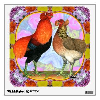 Araucana Chickens Art Nouveau Wall Decal