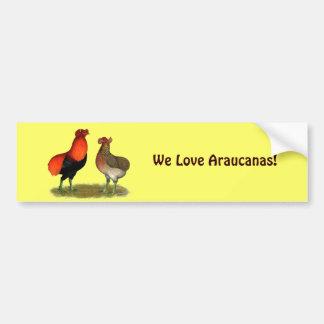 Araucana Red Pair Car Bumper Sticker