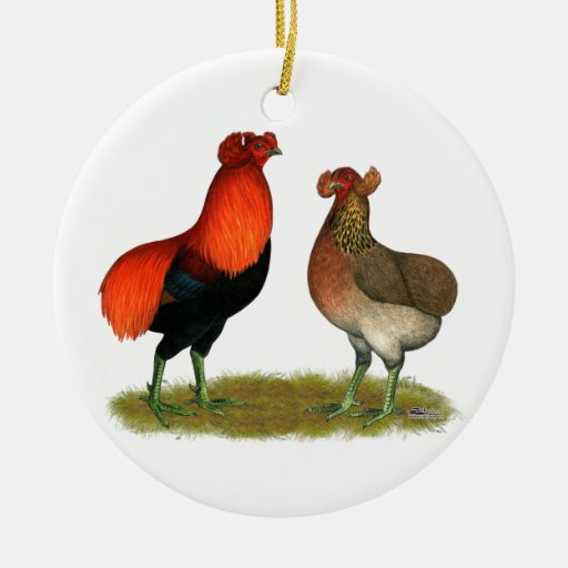 Araucana Red Pair Double-Sided Ceramic Round Christmas Ornament