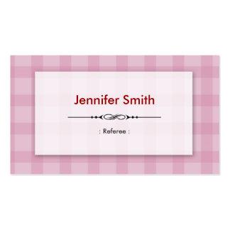 Árbitro - cuadrados rosados bonitos tarjetas de visita