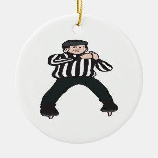 Árbitro del hockey adorno navideño redondo de cerámica