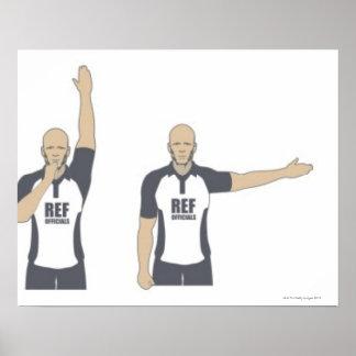 Árbitro del rugbi que señala el penalti, libre póster