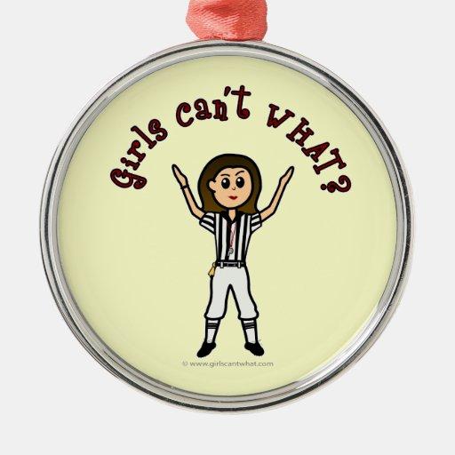 Árbitro para mujer ligero del fútbol adorno navideño redondo de metal