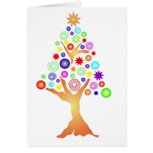 Árbol 2 de Navidad en blanco Tarjeta De Felicitación