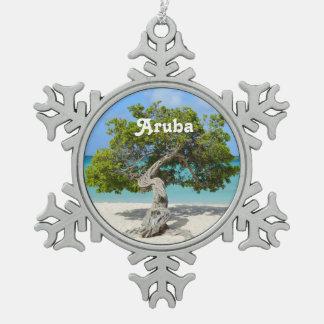 Árbol a solas de Divi Divi en Aruba Adorno De Peltre En Forma De Copo De Nieve
