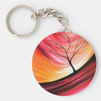Árbol abstracto - arte moderno llavero redondo tipo pin