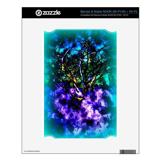 Árbol abstracto con la frontera azul clara calcomanías para el NOOK