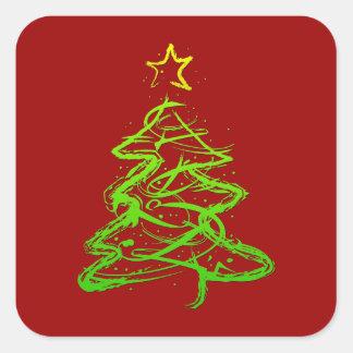 Árbol abstracto del navidad calcomania cuadradas