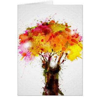 Árbol abstracto del otoño que forma por las felicitaciones