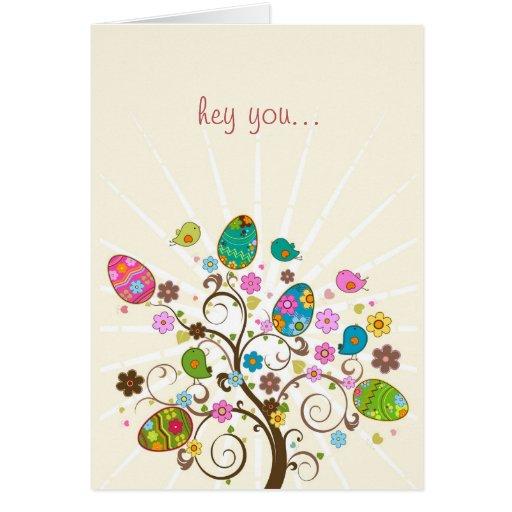 Árbol abstracto feliz de Pascua Pascua Felicitaciones