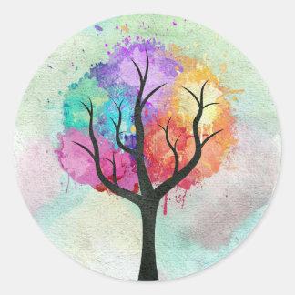 Árbol abstracto impresionante de la pintura de pegatina redonda