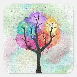 Árbol abstracto impresionante de la pintura de pegatina cuadrada
