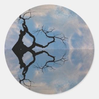 Árbol abstracto pegatina redonda