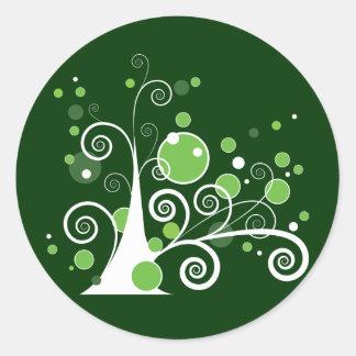 Árbol abstracto pegatinas redondas