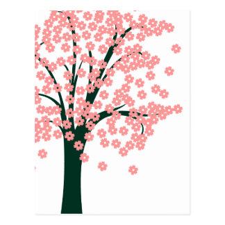 Árbol abstracto rosado postales
