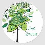 Árbol abstracto verde etiqueta