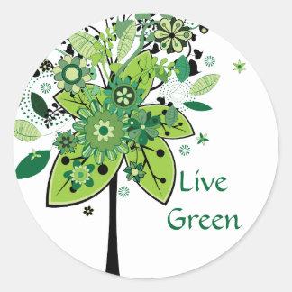 Árbol abstracto verde pegatina redonda