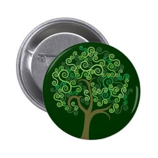 Árbol abstracto verde pin redondo de 2 pulgadas