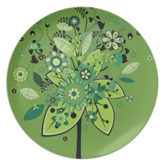 Árbol abstracto verde platos para fiestas
