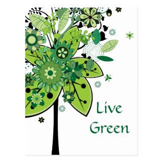 Árbol abstracto verde postal