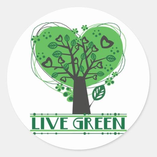 Árbol abstracto verde vivo pegatina redonda