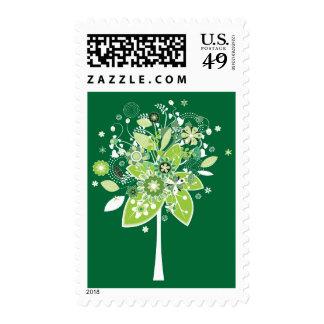 Árbol abstracto verde y blanco sellos