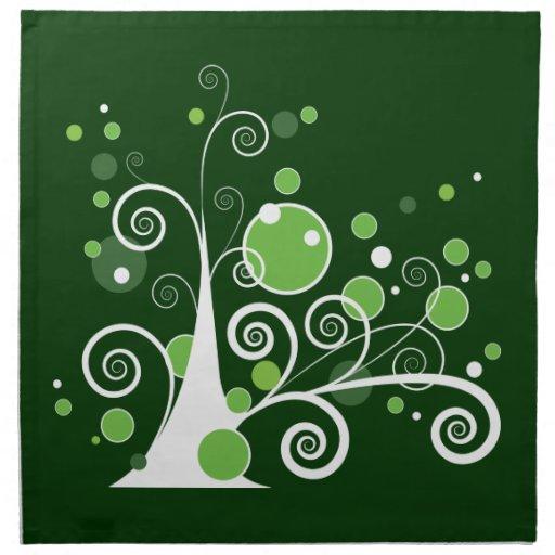 Árbol abstracto verde y blanco servilletas