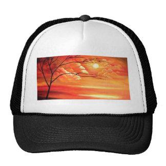 Árbol abstracto y puesta del sol roja gorras de camionero