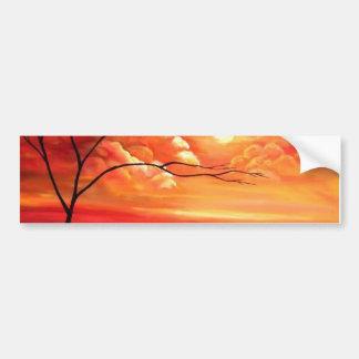 Árbol abstracto y puesta del sol roja pegatina para auto