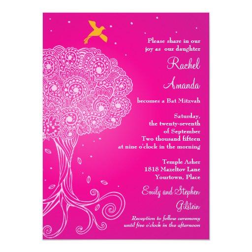 Árbol adornado del palo Mitzvah del rosa de la Invitación 13,9 X 19,0 Cm