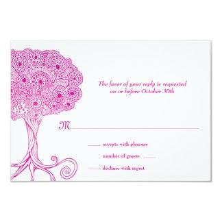 Árbol adornado del palo Mitzvah RSVP del rosa de Comunicado Personalizado