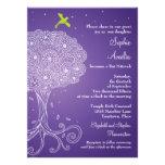 Árbol adornado del palo púrpura Mitzvah de la vida Invitacion Personal