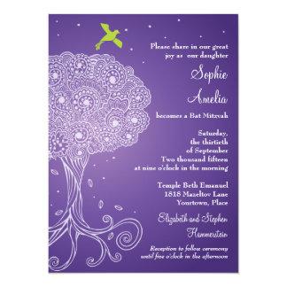 Árbol adornado del palo púrpura Mitzvah de la vida Invitación 13,9 X 19,0 Cm
