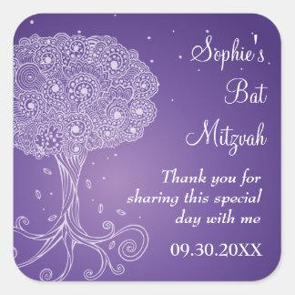 Árbol adornado del palo púrpura Mitzvah de la vida Calcomania Cuadradas Personalizada