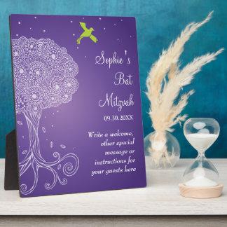 Árbol adornado del palo púrpura Mitzvah de la vida Placa De Madera