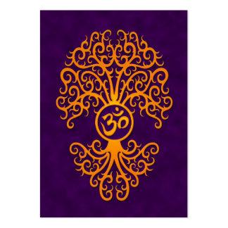 Árbol amarillo de OM en púrpura Plantillas De Tarjetas De Visita