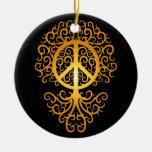 Árbol, amarillo y negro de la paz adorno de navidad