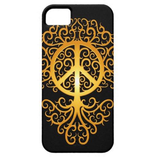 Árbol, amarillo y negro de la paz iPhone 5 Case-Mate funda