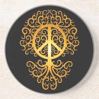 Árbol amarillo y negro de la paz posavasos diseño