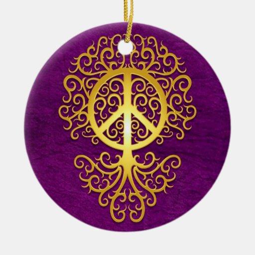Árbol, amarillo y púrpura de la paz ornamentos para reyes magos