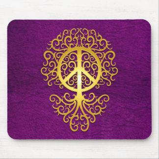 Árbol, amarillo y púrpura de la paz tapetes de ratones